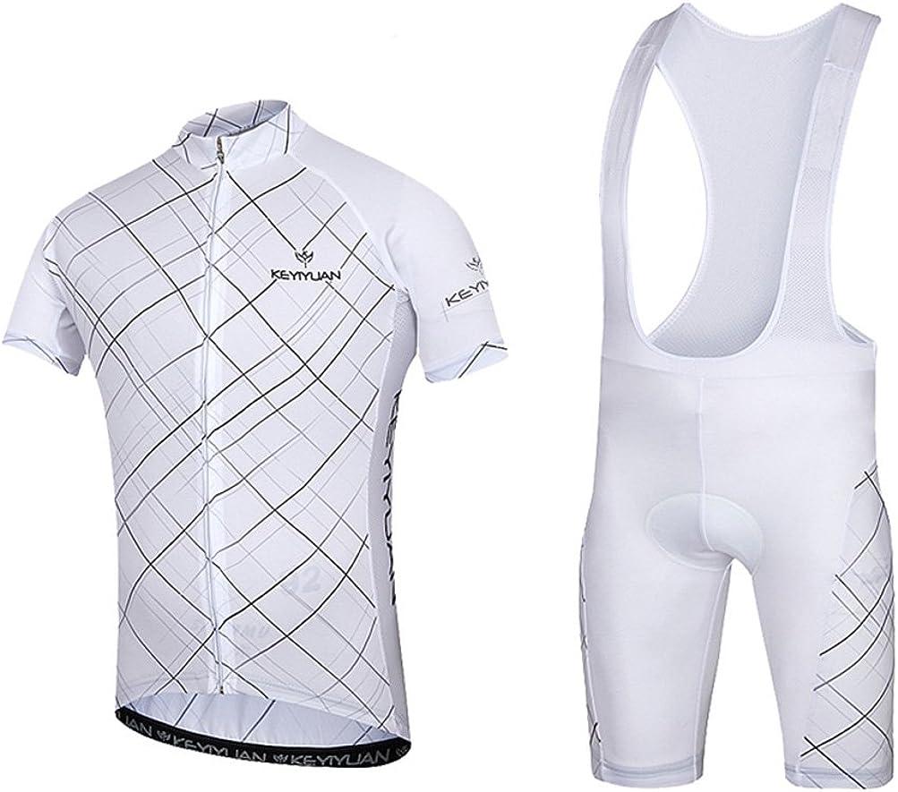 Uriah Men's Bicycle Jersey Bib Shorts Sets Short Sleeve with Back Zippered Bag: Clothing