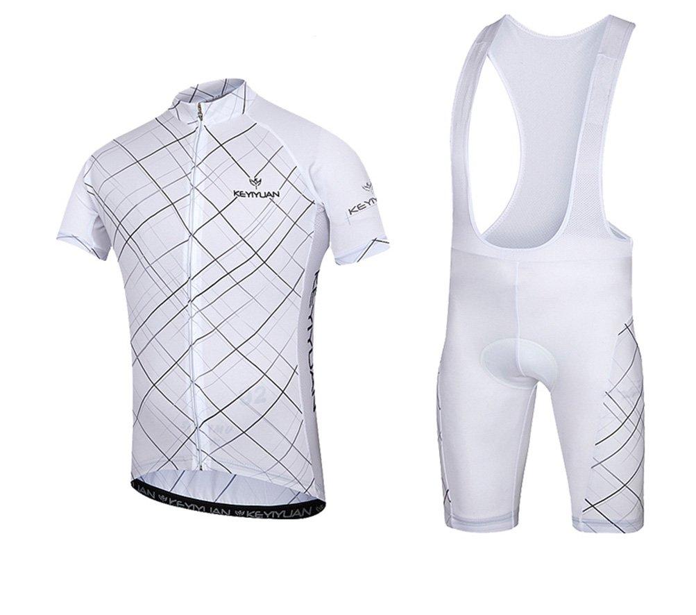 Uriahメンズ自転車ジャージBib Shortsセット半袖with Backファスナー付きバッグ B071NKV97T Chest 37.8''=Tag L|White Nets White Nets Chest 37.8''=Tag L