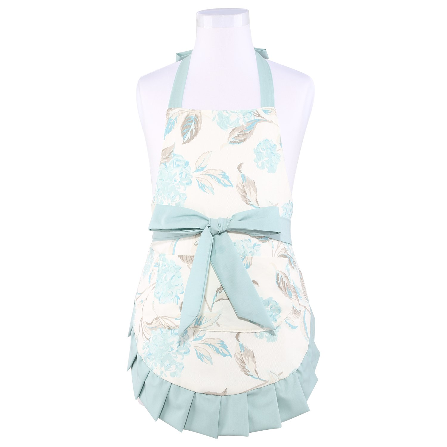 Neoviva Cotton Twill Child Apron with Big Pocket for Play Kitchen, Lining Applied, Style Kathy, Floral Hydrangea Clear Aqua