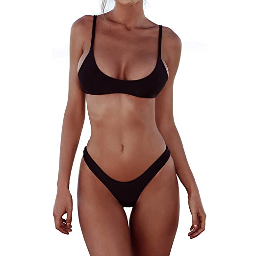 0da3707a5d FANGUO Womens Bikini Set Swimwear Brazilian Padded Top Swimsuit Solid Color  Triangle Bottom Black Medium