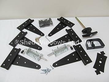 Shed Door Hardware Kit, T Hinges 6u0026quot;, T Handle, Heavy Duty Barrel