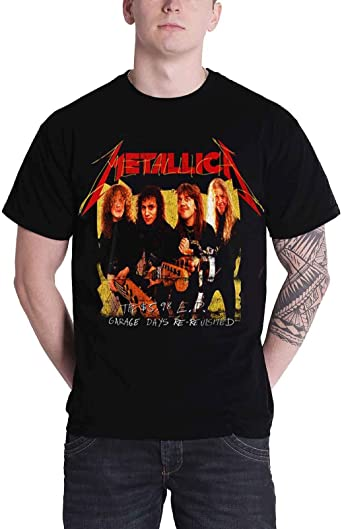 Metallica T - Camiseta de Garage Days Photo Amarillo Band Logo Nuevo Oficial para Hombre: Amazon.es: Ropa y accesorios