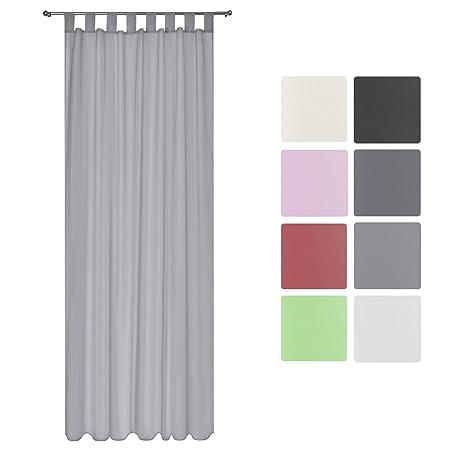 Beautissu Transparenter Schlaufen-Vorhang Amelie - 140x245 cm Grau Uni - Voile Dekoschal Gardine Schlaufenschal