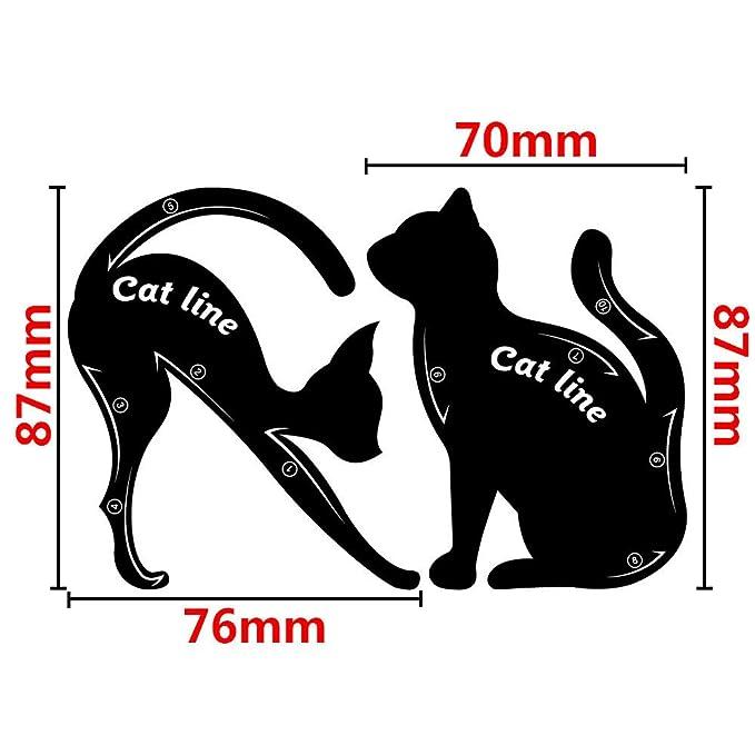 Gusspower 2pcs hojas gato negro delineador de ojos diseño de color gris sombra de ojos maquillaje delineador de ojos moldes plantilla para herramientas: ...