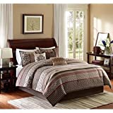 7pc Beige Brown Tan Red Southwest Comforter Full Queen Set, Native American Colors Tribal Patten Damask, Southwestern Bedding Cabin Themed, Polyester Khaki Embroidery