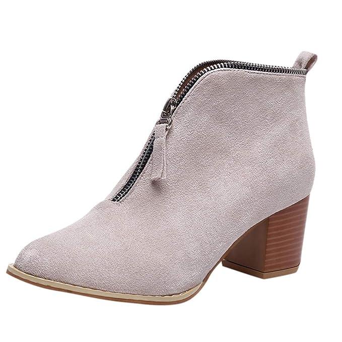 ZODOF Mujer Zapatos de Mujer Moda Botín de Leopardo sólido Cremallera Navidad Bootie Botas Cortas Botines