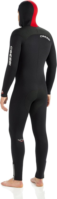 S//2 Negro//Rojo Cressi Diver Man Monpiece Wetsuit 7mm Traje de Buceo Hombre