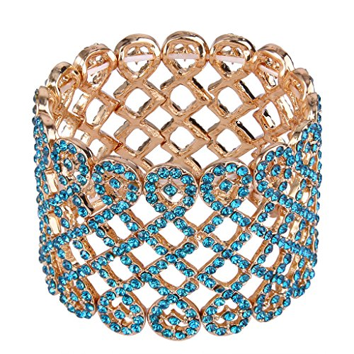 Tone Gold Bracelet Rhinestone - EVER FAITH Art Deco Love Knot Wide Stretch Bridal Bracelet Sea Blue Austrian Crystal Gold-Tone
