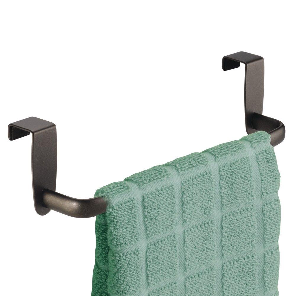 """Interdesign Over-the-Cabinet Kitchen Dish Towel Bar Holder - 9"""", Bronze"""