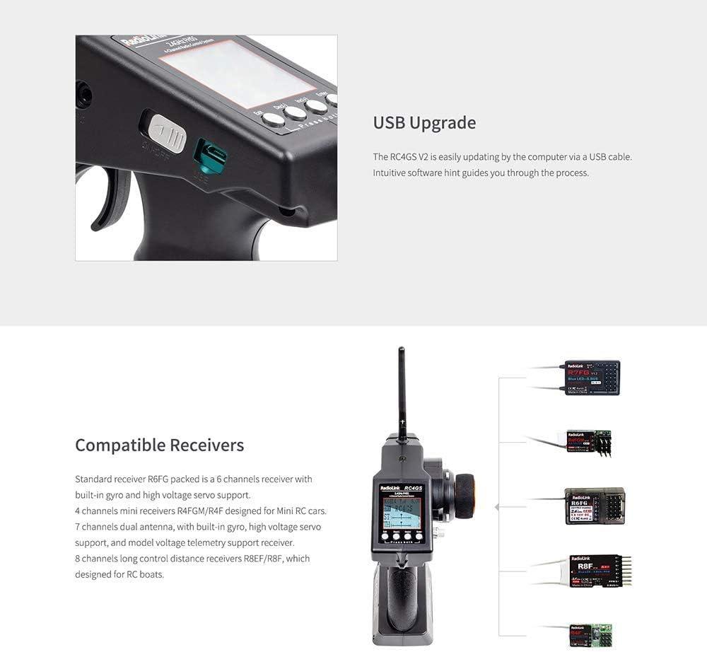 RadioLink Version 2 Radio RC4GS V2 4 Channels RC Transmitter Pistol Grip and Gyro Receiver R6FG Radio Controller for Crawler Truck Drift Car Boat