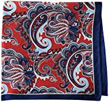 Buttoned Down Men's Classic Silk Hand Rolled Pocket Square, red paisley, One Size