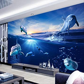 Personalizado 3d Dibujos Animados Mural Fondo Natural Del Amanecer Del Delfín Fuera Del Agua Foto Papel