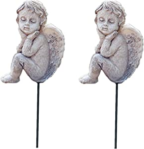 MUAMAX Decorative Angel Stakes 2 Packs Miniature Angel Figurines Fairy Garden Accessories Flowerpot Decor Terrarium Ornaments