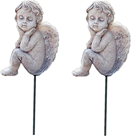 MUAMAX Kiss Angel Garden Stakes Miniature Fairy Ornaments Outdoor Planter Flower Decoration Pottery Decorative accessories Gardening Gifts
