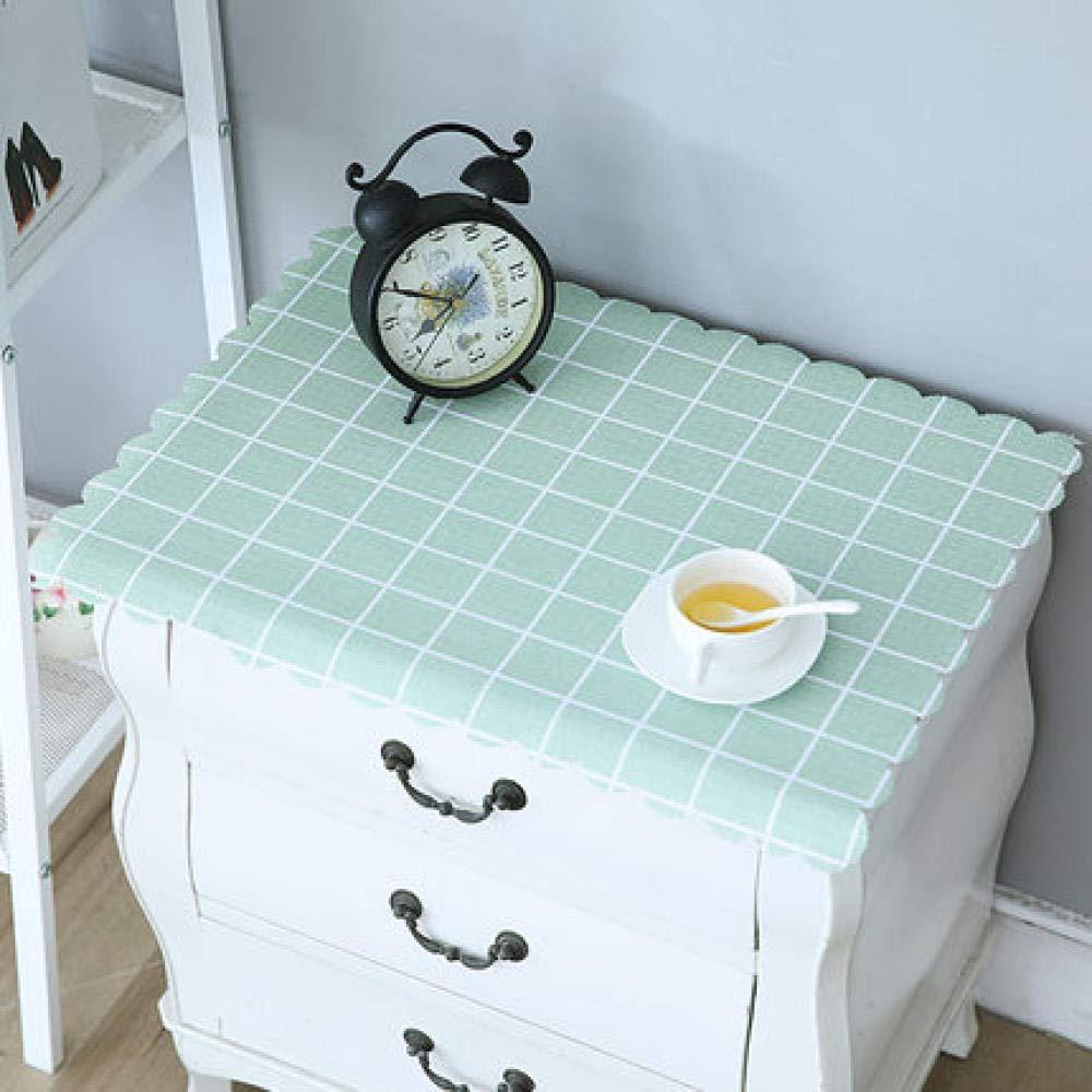 WJJYTX tischdecke Plastik, Nachttischdecke Abwischbare Vinyl-Tischdecke Stilvolles Muster Wasserdicht Kleines Quadrat Grün @ 50 * 50
