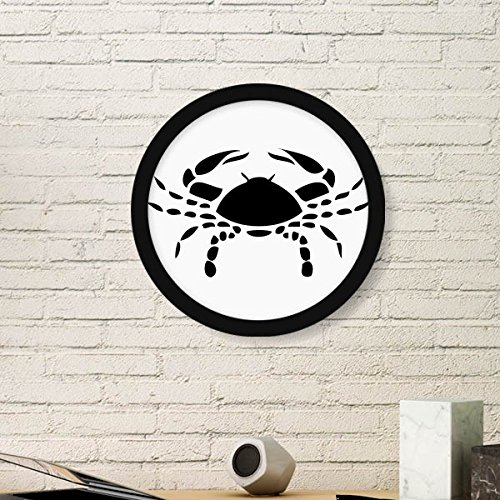 Cancer Zodiac Frame (Constellation Cancer Zodiac Sign Symbol Mark Silhouette Illustration Pattern Round Simple Picture Frame Art Prints of Paintings Home Wall Decal)