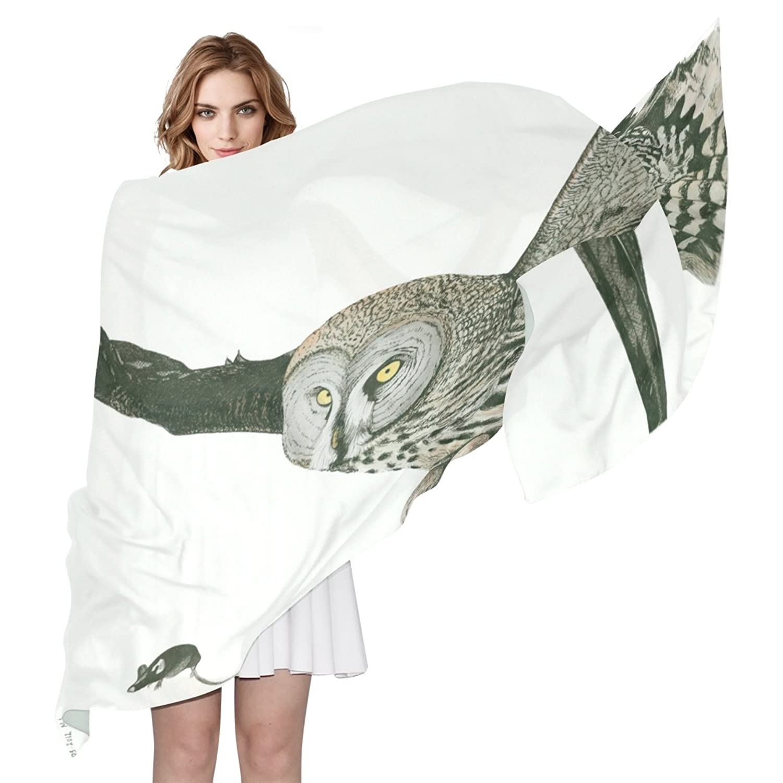 WDYSECRET Owl Silk Printing Scarves for Women 70.86x35.4(in)