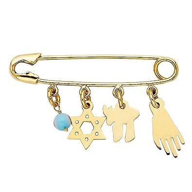Amazon 14k Yellow Gold Jewish Symbols On Safety Pin Pendant