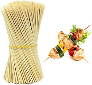 "BcPowr 900PCS Bamboo Sticks, Wooden Sticks for Food Roasting Sticks Candy Apple Sticks Barbecue Skewers Environmentally Safe (7.87"" x 0.12"")"