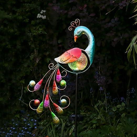 Pavo real luminoso para jardín, solar, con iluminación LED que cambia de color, figura de metal y vidrio de 81 cm, resistente al agua (pila recargable incluida): Amazon.es: Iluminación
