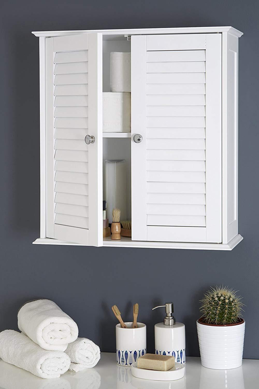 Elitezotec © New Bathroom Storage Double Door White Cupboard Cabinet Wall Mounted Shutter discountin ltd