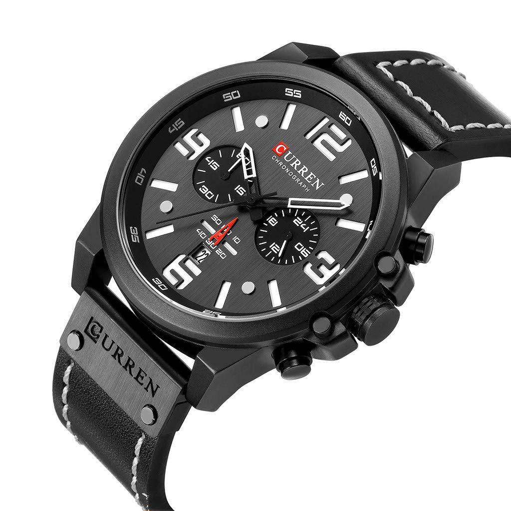LUXISDE Men's Watches Wrist Watch Mens Watches Sport Waterproof Calendar Leather Chronograph Quartz Watch 10 by LUXISDE (Image #5)