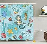 KANATSIU Mermaid Wildlife Tropical Jellyfish Goldfish Cheering Turtle Seahorse Shower Curtain 12 Plastic Hooks,100% Made Polyester,Mildew Resistant & Machine Washable,Width x Height is 72x72