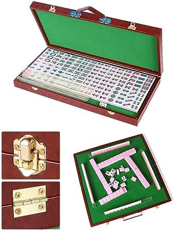 Puzzle Mini portátil de 144 fichas de Mahjong Juego Mah Jong Juego de Mesa Plegable al Aire Libre Tradicional Recorrido con Majiang de Almacenamiento de Tablas, a Prueba de Agua Mantel, Embrague:
