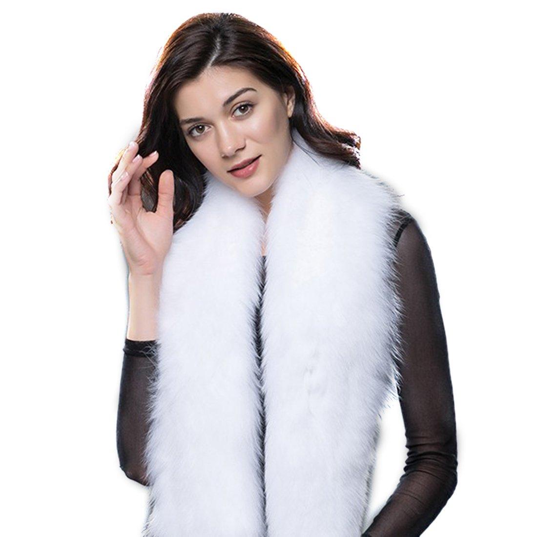 URSFUR 毛皮 大判 フォックスファー ショール ファッション マフラー キツネファー B01MTL4GDA Fサイズ ホワイト ホワイト Fサイズ