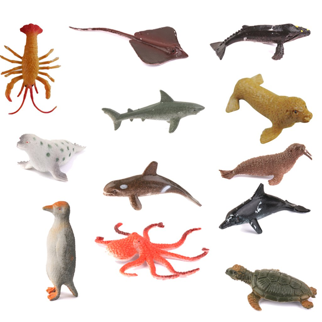 12pcs Pl/ástico Juguete Figuras Modelos Animales Marinos para Ni/ños Multicolor