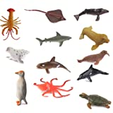 Hard Plastic Model Marine Animals Kids Toy Set of 12pcs Multi-color