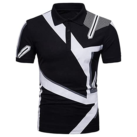 Sello geométrico Hombre de Manga Corta Camiseta Camisa de Polo ...
