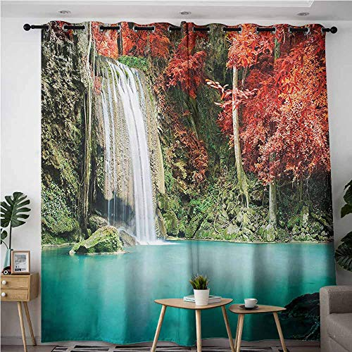(Indoor/Outdoor Curtains,Waterfall,Great for Living Rooms & Bedrooms,W108x108L,Red and Blue)
