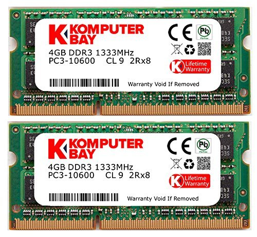 (Komputerbay 8GB Dual Channel Kit 2x 4GB 204pin DDR3-1333 SO-DIMM 1333/10600S ( 1333MHz, CL9 ) for MAC and PC)