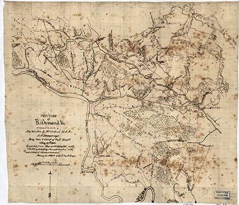 Amazon Com Civil War Map Reprint Position Of Richmond Va Prints