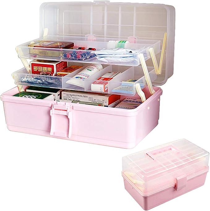 BUONDAC Caja Almacenaje de Plástico para Medicamentos Caja Organizadora Botiquín 3 Capas con Asa Grande: Amazon.es: Hogar