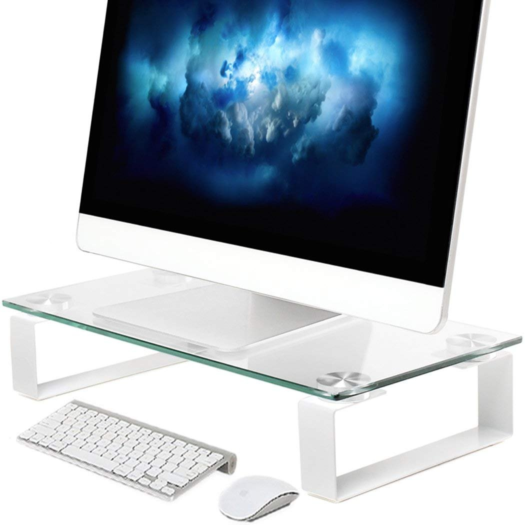 Tempered Glass Computer Monitor Stand Riser, Save Space Desktop Stand for LCD LED TV Monitor Notebook Laptop, Hold up to 40 lbs, Ergonomic Screen Holder(15.1'' x 8.2'' x 3.1'') by HUANUO