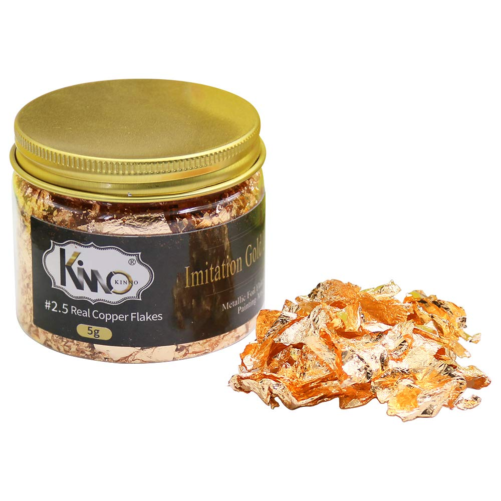 5 Grams jar KINNO Imitation Gilding Foil Flakes Arts Projects and Handcrafts Decorations Genuine Copper Foil Metallic Flakes for Gilding