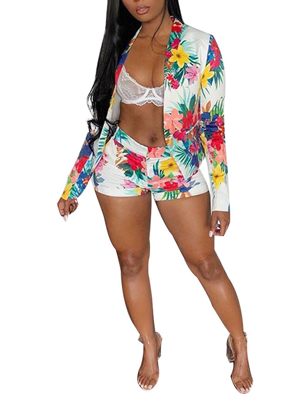 Women Floral Print Casual Two Pieces Suit Set Long Sleeve Blazer Shorts Outfit Medium
