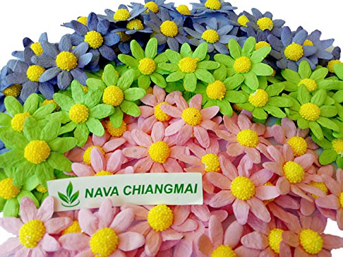 NAVA CHIANGMAI Mulberry paper flowers for Scrapbooking Embellishment , Wedding Decoration, Crafts Card Making Scrapbooking Gifts ()