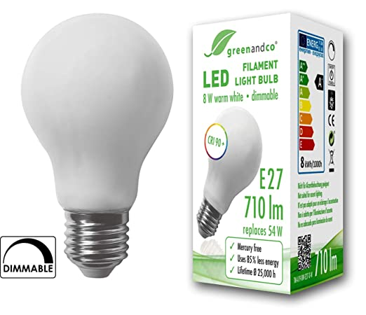 Bombilla de filamento LED greenandco® IRC 90+ regulable E27 opaca 8W (corresponde a