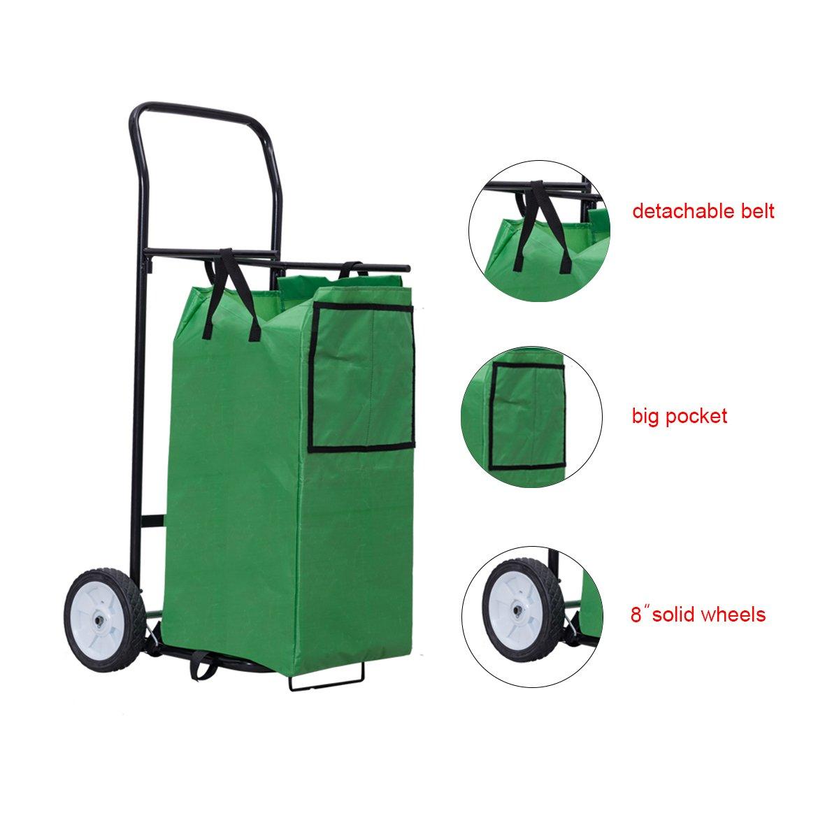 Goplus Portable Gardening Lawn Leaf Bag Detachable Tote Cart Multifunctional Folding Basket w/ Pocket Green by Goplus (Image #4)