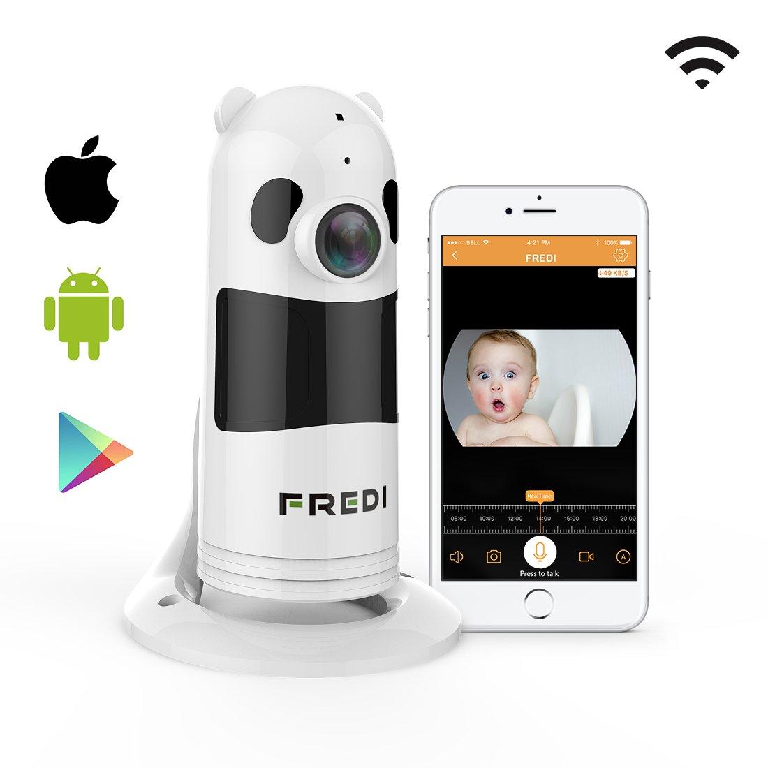 HD 1080P FREDI C/ámara Panor/ámica//WiFi C/ámara IP//C/ámara Vigilancia//C/ámara Seguridad y Inal/ámbrica//Vigilabebes Baby Monitor IR Visi/ón Nocturna//2-way Talking Detecci/ón de Movimiento Vista Remota-Blanca