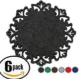 Dulce Cocina Classy Housewarming Gift - Black Felt Coasters Set of 6 - Large 4.5 inch Size