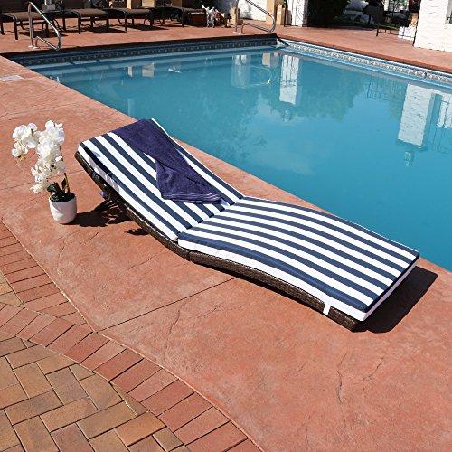 Sunnydaze Maui Wicker Rattan Folding Sun Lounger with Blue Stripes