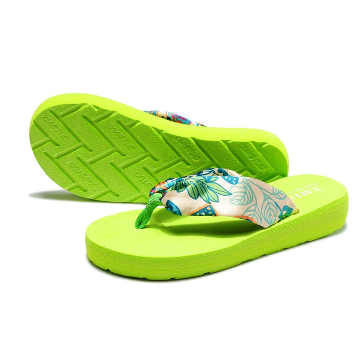 Butterme Femmes Bohème Floral Sandales D'été Plage Chaussures Sandale Wedge Plate-forme Accueil Tongs Pantoufles ZUMUii ZUMU00006893