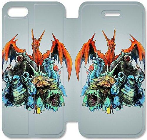 Flip étui en cuir PU Stand pour Coque iPhone 5 5S, bricolage 5 5S cellulaire cas de téléphone Pokemon Monsters B7O0MG InCoque Case Coque iPhone étuis en cuir