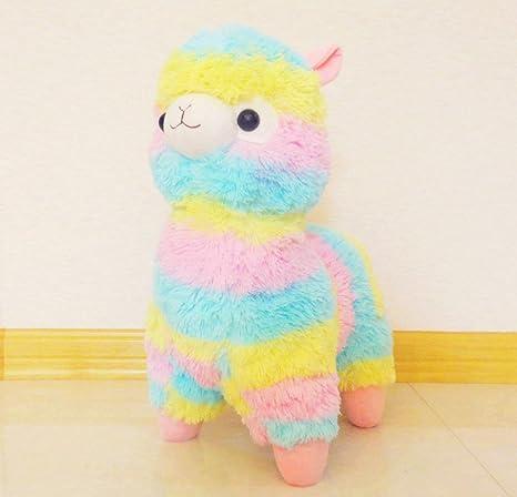 Amazon Com Jingyjoe Large Rainbow Alpaca Plush 18 Inches Tall Toys