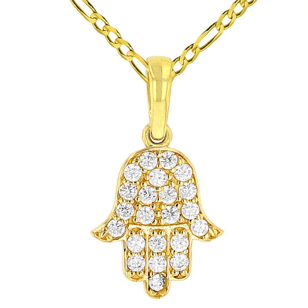 Solid 14K Yellow Gold Cubic Zirconia Hamsa Hand of Fatima Charm Pendant with Figaro Chain Necklace