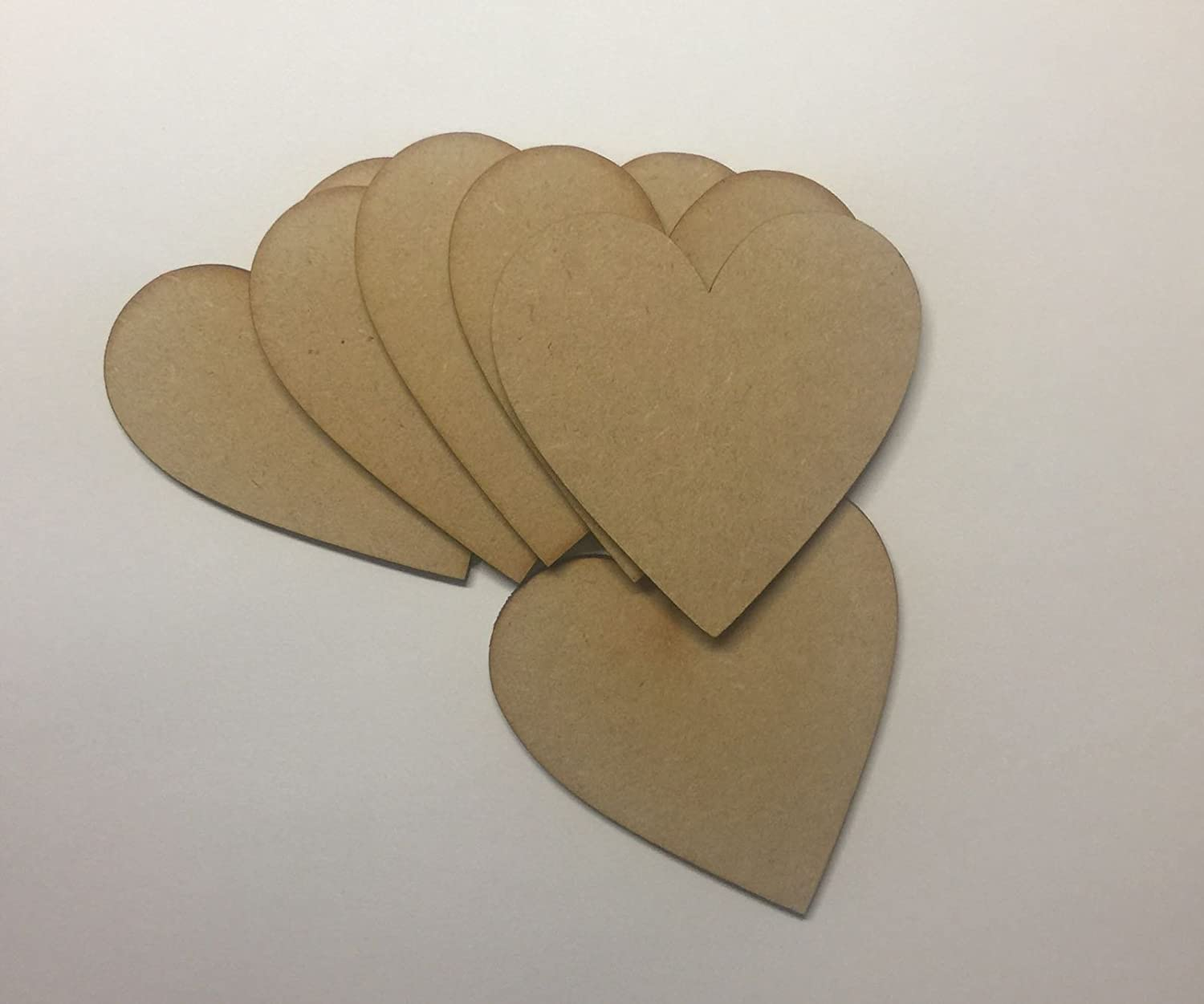 Embellishments 3mm MDF Craft Shape Wooden heart Shapes Tags